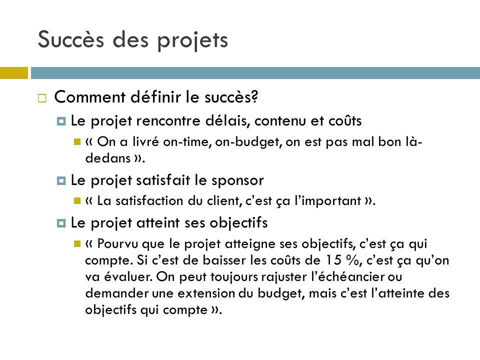 Succès des projets 15 Comment définir le succès? Le projet rencontre délais, contenu et coûts « On a livré on-time, on-budget, on est pas mal bon là-