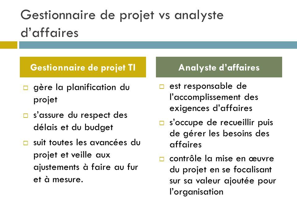 Gestionnaire de projet vs analyste daffaires gère la planification du projet sassure du respect des délais et du budget suit toutes les avancées du pr