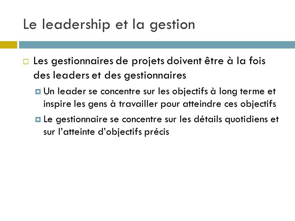 Le leadership et la gestion Les gestionnaires de projets doivent être à la fois des leaders et des gestionnaires Un leader se concentre sur les object