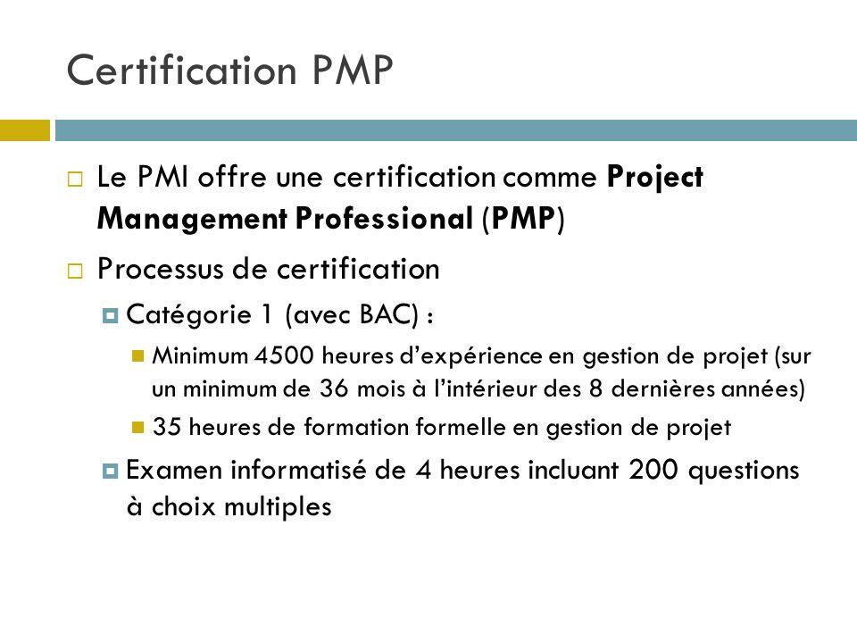Certification PMP 25 Le PMI offre une certification comme Project Management Professional (PMP) Processus de certification Catégorie 1 (avec BAC) : Mi