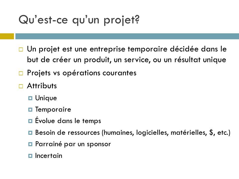 Quest-ce quun projet? Un projet est une entreprise temporaire décidée dans le but de créer un produit, un service, ou un résultat unique Projets vs op