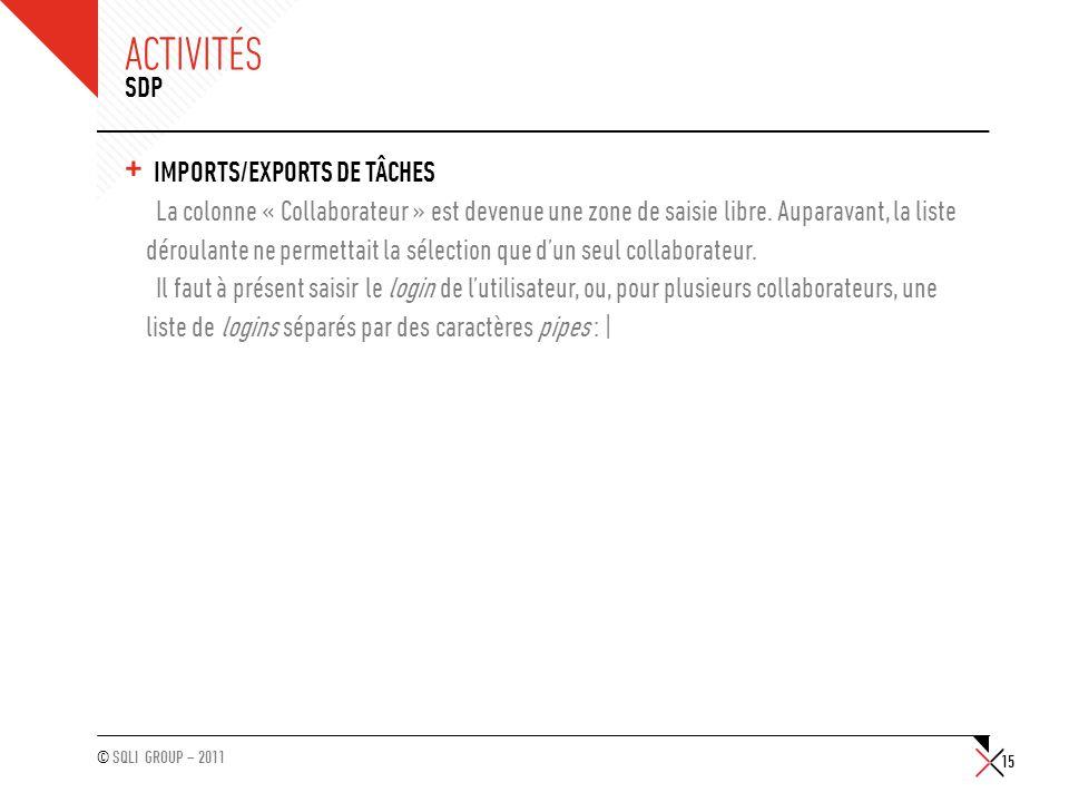 © SQLI GROUP – 2011 ACTIVITÉS + IMPORTS/EXPORTS DE TÂCHES La colonne « Collaborateur » est devenue une zone de saisie libre. Auparavant, la liste déro