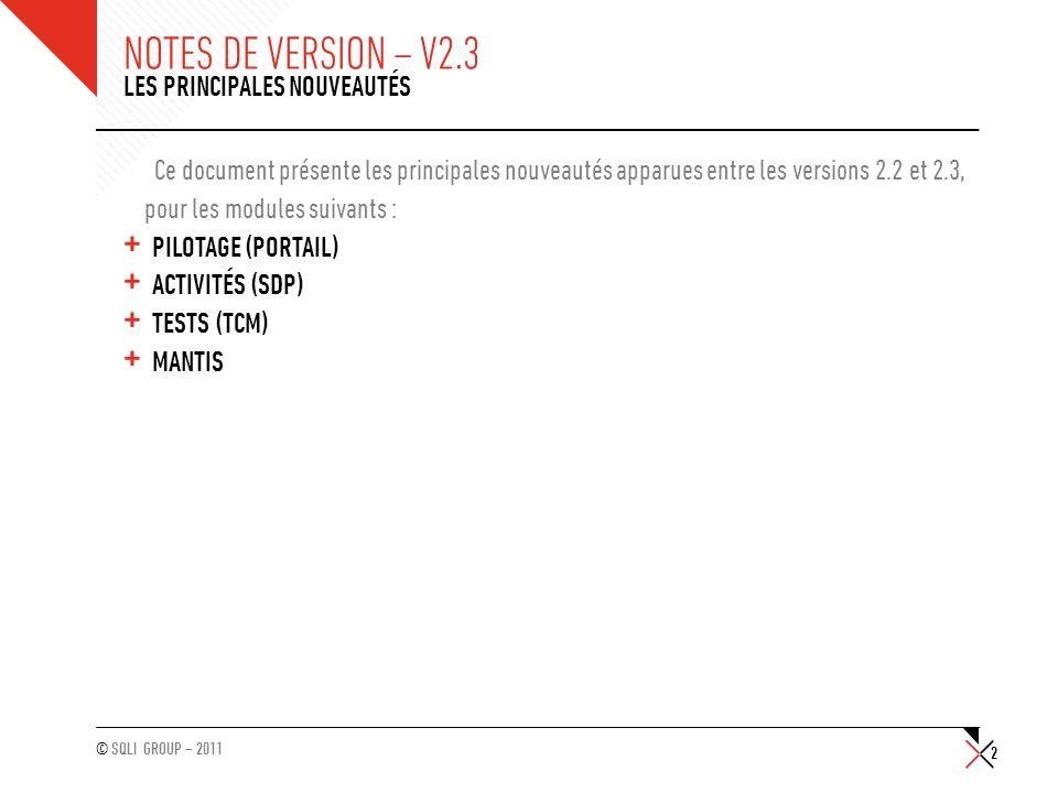 © SQLI GROUP – 2011 NOTES DE VERSION – V2.3 Ce document présente les principales nouveautés apparues entre les versions 2.2 et 2.3, pour les modules s