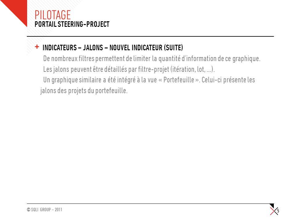 © SQLI GROUP – 2011 PILOTAGE + INDICATEURS – JALONS – GRAPHIQUE « ÉVOLUTION DES DATES DE JALONS » Un nouveau filtre « Date de début / Date de fin » permet de nafficher que les jalons initialement prévus au cours de cette période.