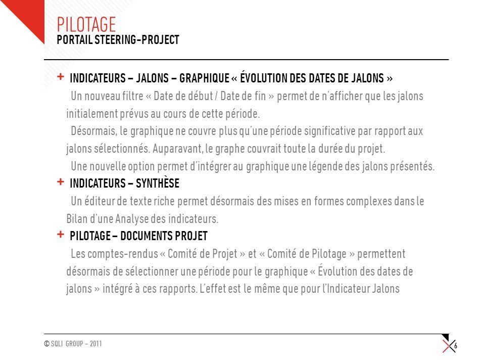 © SQLI GROUP – 2011 PILOTAGE + PILOTAGE – LIVRABLES Une nouvelle propriété « Contractuel » est introduite pour les Livrables, cette propriété modifie le comportement de lindicateur de couleur (rouge ou vert) dans la liste des livrables.