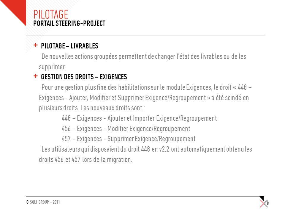 © SQLI GROUP – 2011 PILOTAGE + PILOTAGE – LIVRABLES De nouvelles actions groupées permettent de changer létat des livrables ou de les supprimer. + GES