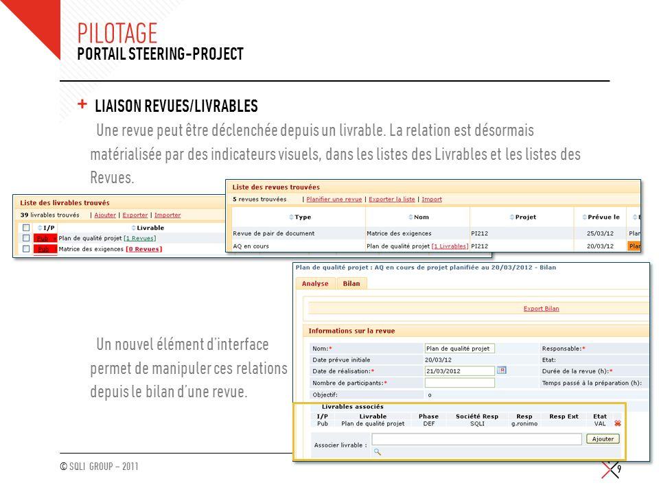 © SQLI GROUP – 2011 PILOTAGE + LIAISON REVUES/LIVRABLES Une revue peut être déclenchée depuis un livrable. La relation est désormais matérialisée par