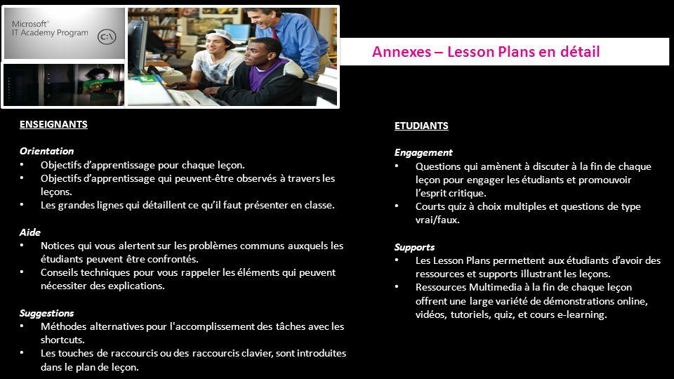 Annexes – Lesson Plans en détail ENSEIGNANTS Orientation Objectifs dapprentissage pour chaque leçon.