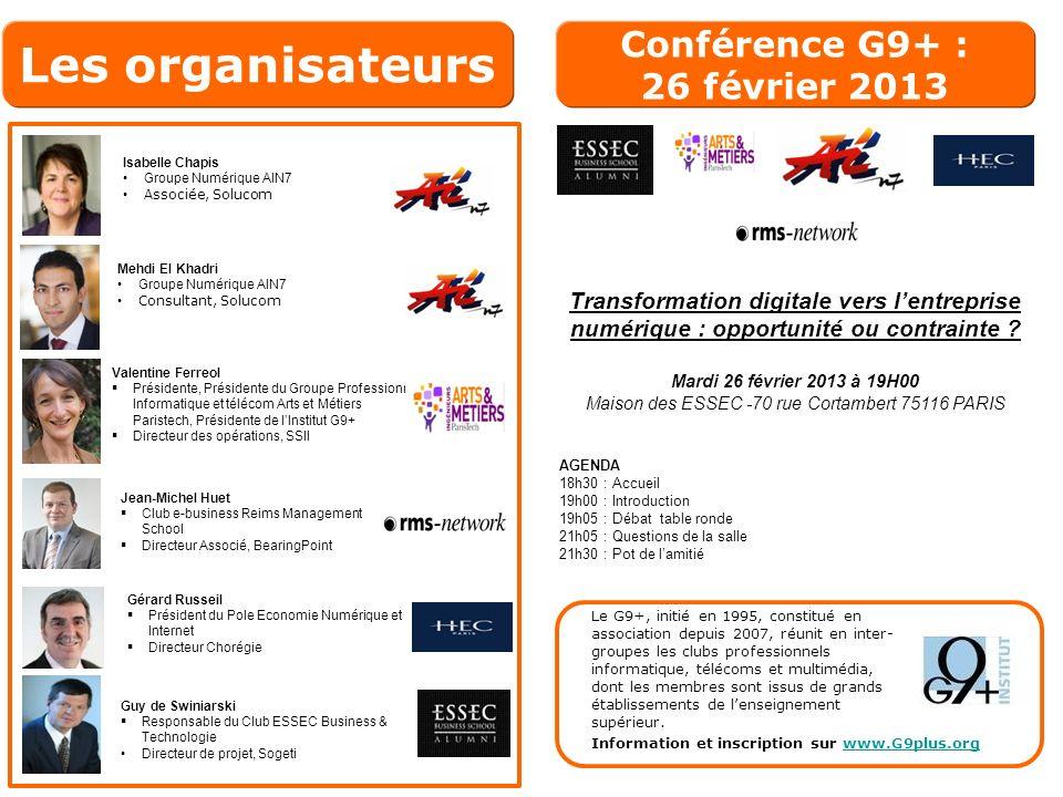 Conférence G9+ : 26 février 2013 Transformation digitale vers lentreprise numérique : opportunité ou contrainte .