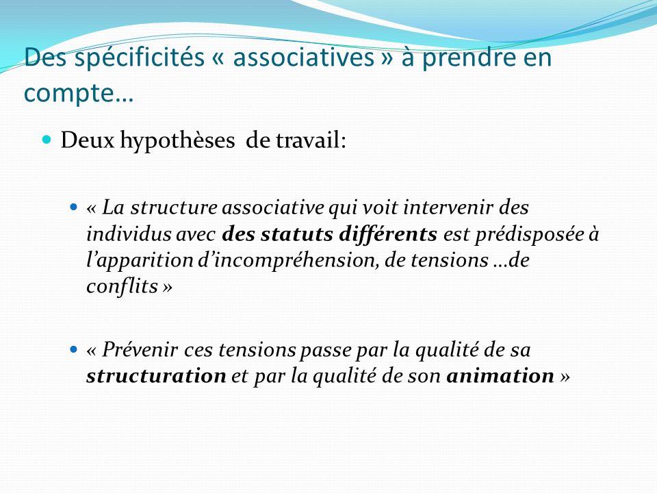 Des spécificités « associatives » à prendre en compte… Deux hypothèses de travail: « La structure associative qui voit intervenir des individus avec d