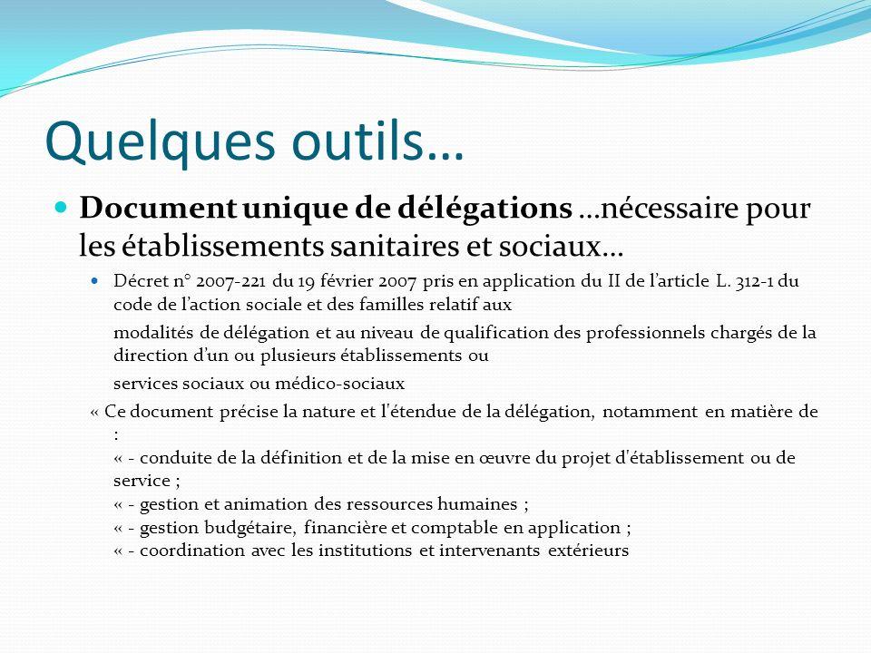 Quelques outils… Document unique de délégations …nécessaire pour les établissements sanitaires et sociaux… Décret n° 2007-221 du 19 février 2007 pris