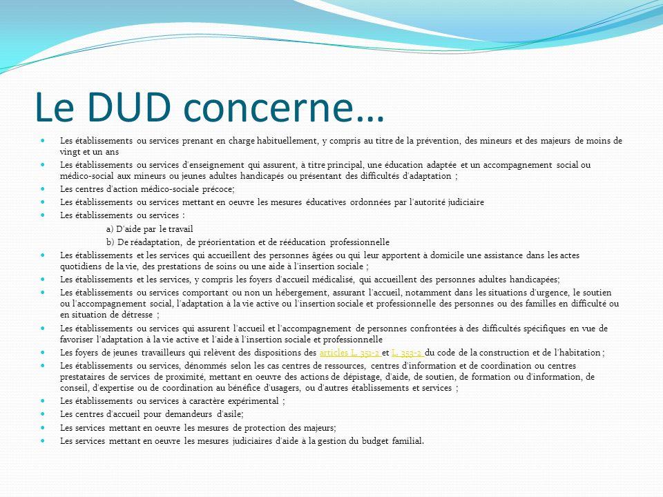 Le DUD concerne… Les établissements ou services prenant en charge habituellement, y compris au titre de la prévention, des mineurs et des majeurs de m