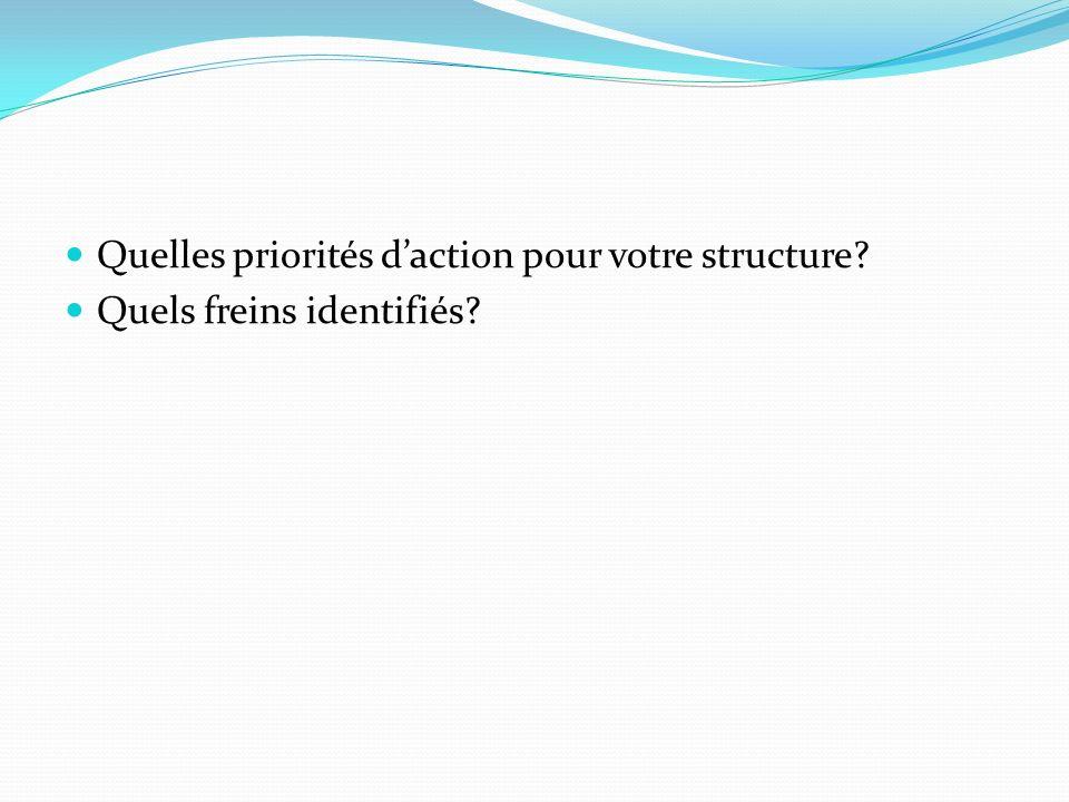 Quelles priorités daction pour votre structure? Quels freins identifiés?