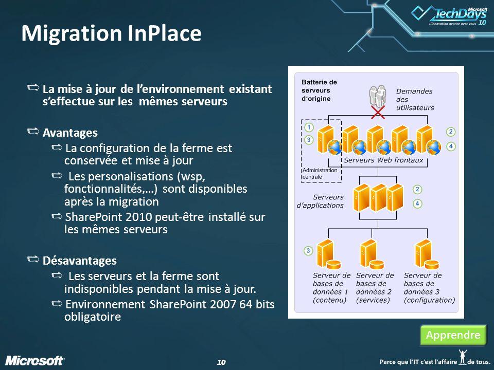 10 Migration InPlace La mise à jour de lenvironnement existant seffectue sur les mêmes serveurs Avantages La configuration de la ferme est conservée e