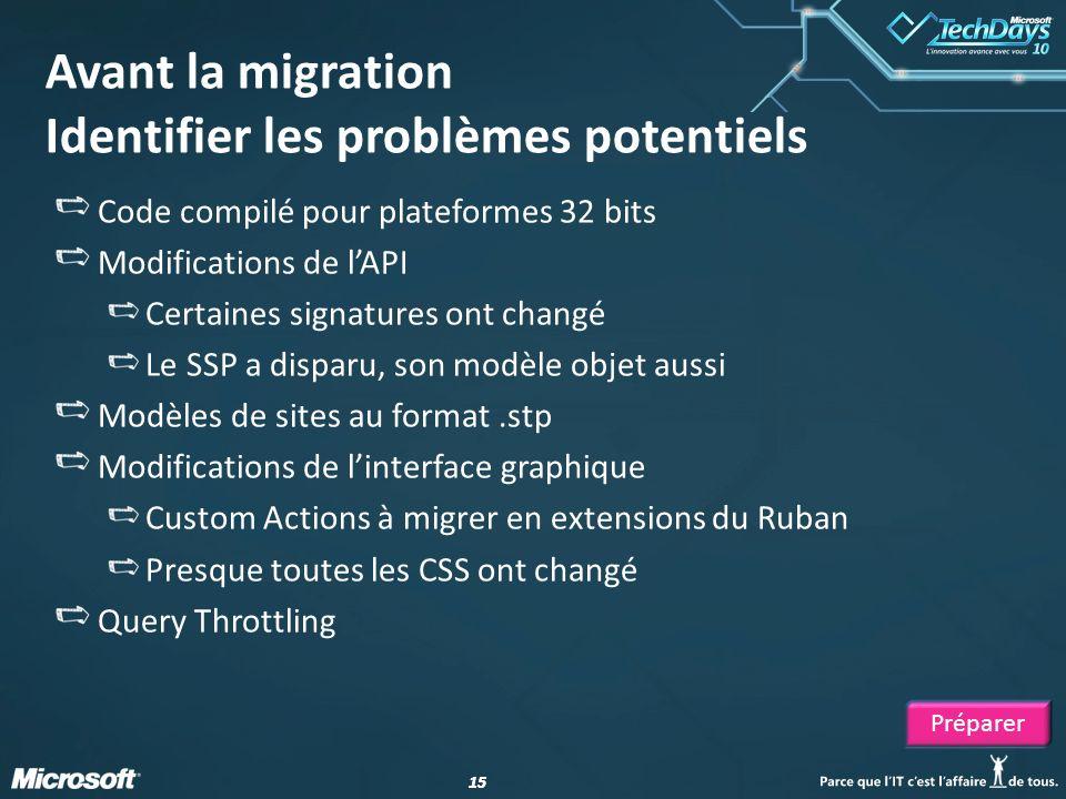 15 Avant la migration Identifier les problèmes potentiels Code compilé pour plateformes 32 bits Modifications de lAPI Certaines signatures ont changé