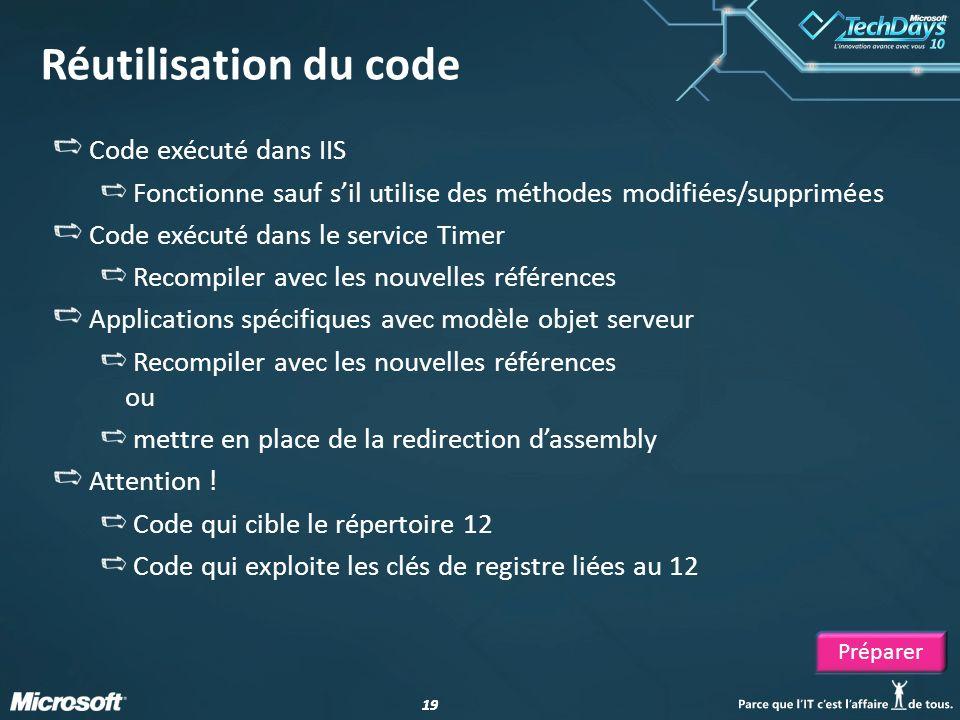 19 Réutilisation du code Code exécuté dans IIS Fonctionne sauf sil utilise des méthodes modifiées/supprimées Code exécuté dans le service Timer Recomp