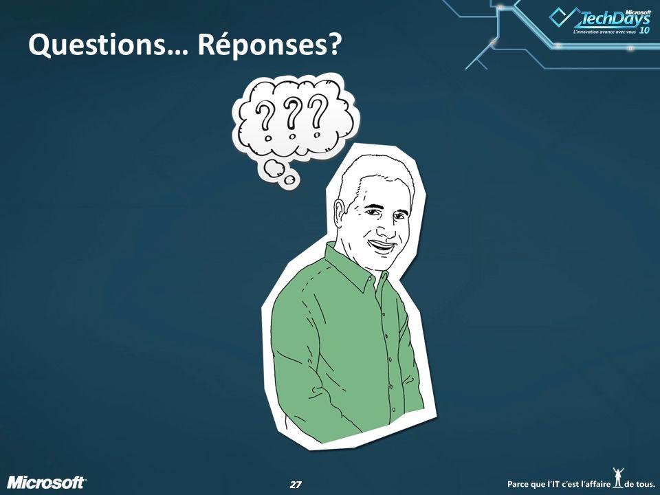 27 Questions… Réponses?