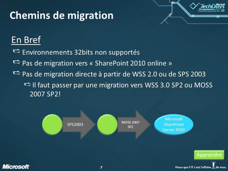 88 Méthodes de migration : SharePoint 2003 vers 2007 Inplace Non redémarrable, ça passe ou ça casse Timeouts DB Attach (Liaison de Base de donnée) Gradual SPS2003 et MOSS2007 coexistent temporairement sur la même machine Apprendre