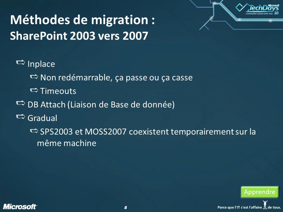 88 Méthodes de migration : SharePoint 2003 vers 2007 Inplace Non redémarrable, ça passe ou ça casse Timeouts DB Attach (Liaison de Base de donnée) Gra