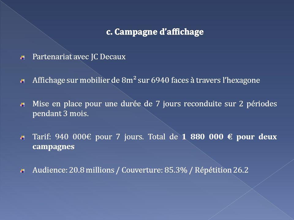 Partenariat avec JC Decaux Affichage sur mobilier de 8m² sur 6940 faces à travers lhexagone Mise en place pour une durée de 7 jours reconduite sur 2 p
