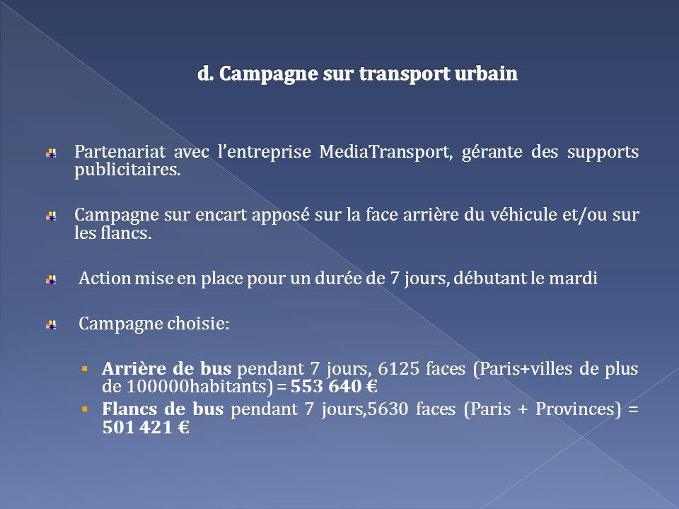 Partenariat avec lentreprise MediaTransport, gérante des supports publicitaires. Campagne sur encart apposé sur la face arrière du véhicule et/ou sur