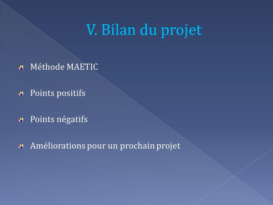 Méthode MAETIC Points positifs Points négatifs Améliorations pour un prochain projet