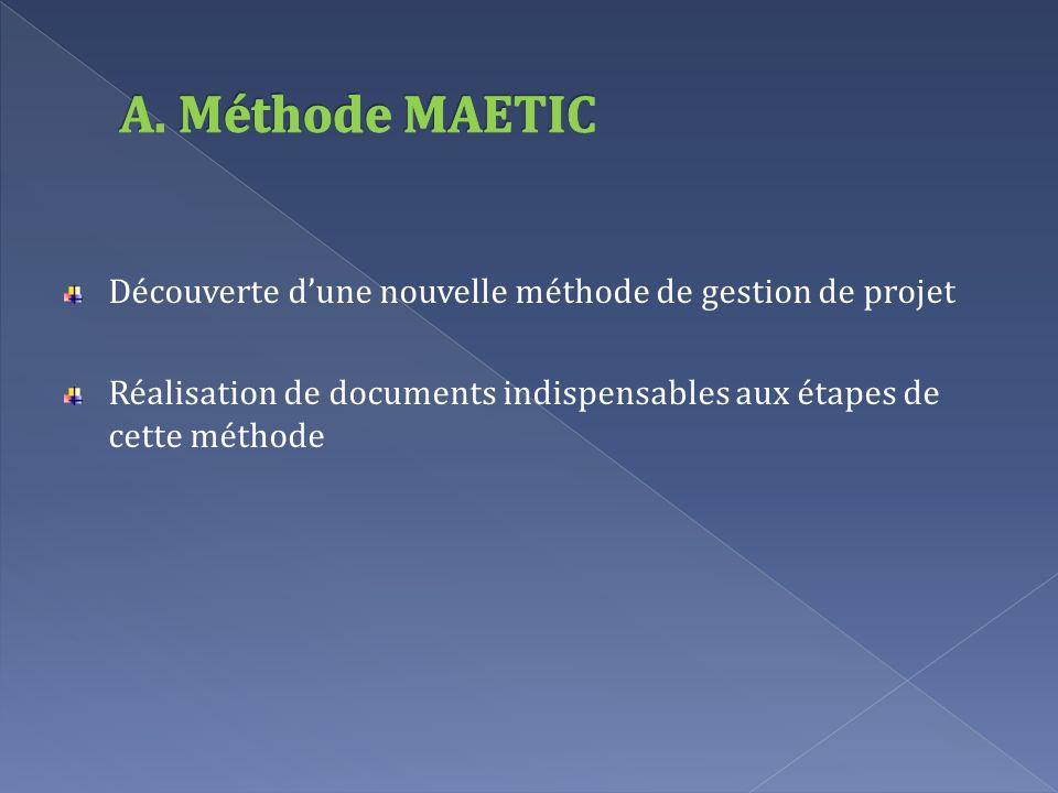Découverte dune nouvelle méthode de gestion de projet Réalisation de documents indispensables aux étapes de cette méthode