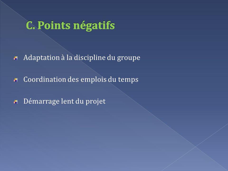 Adaptation à la discipline du groupe Coordination des emplois du temps Démarrage lent du projet
