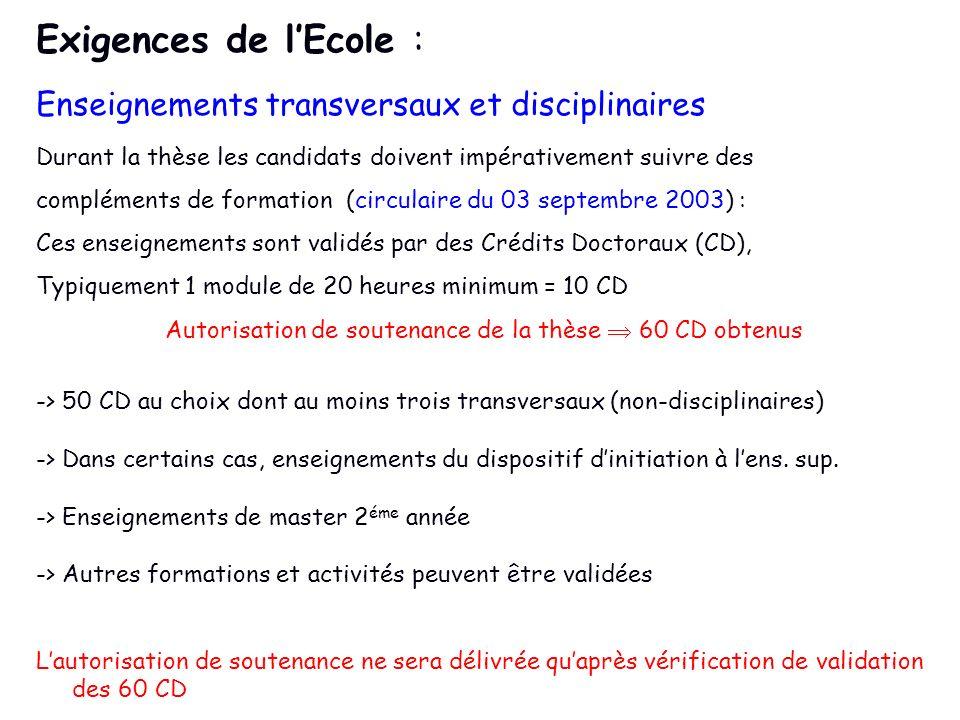 Exigences de lEcole : Enseignements transversaux et disciplinaires Durant la thèse les candidats doivent impérativement suivre des compléments de form