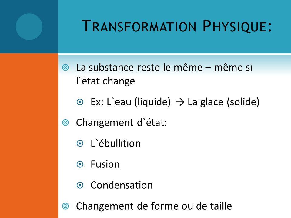 T RANSFORMATION P HYSIQUE : La substance reste le même – même si l`état change Ex: L`eau (liquide) La glace (solide) Changement d`état: L`ébullition F