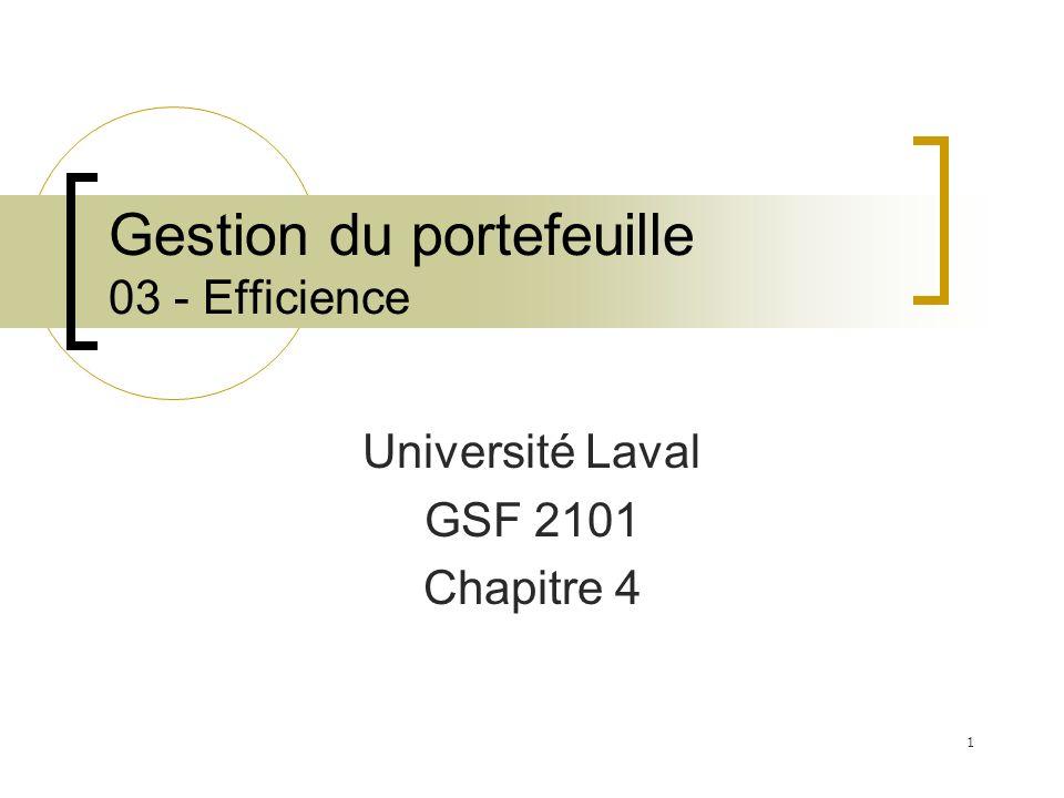Gestion du portefeuille 03 - Efficience Université Laval GSF 2101 Chapitre 4 1
