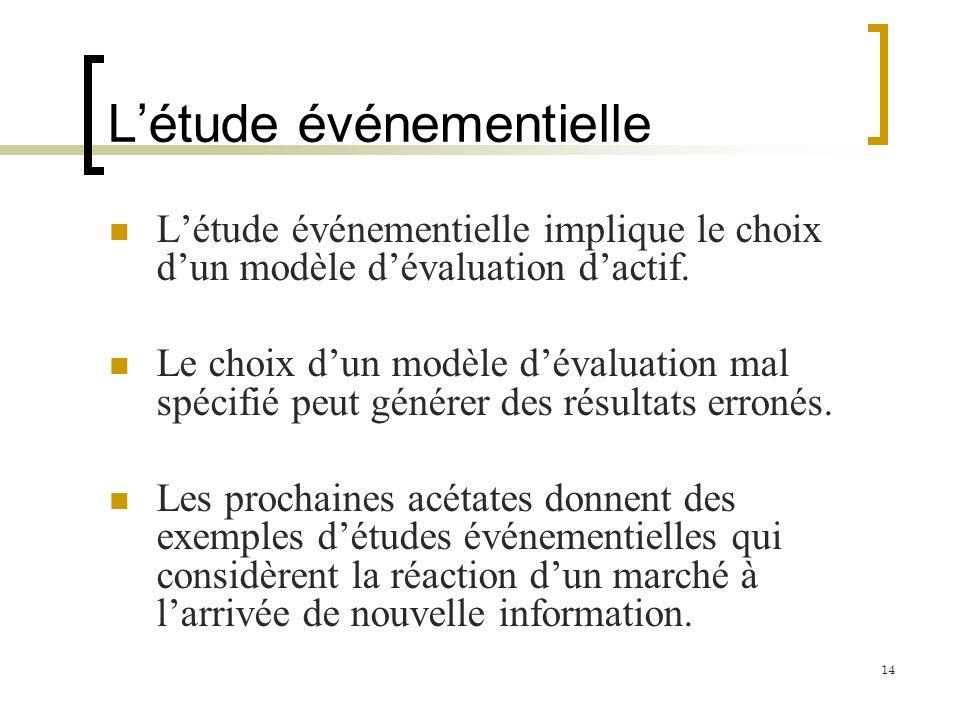 Létude événementielle Létude événementielle implique le choix dun modèle dévaluation dactif. Le choix dun modèle dévaluation mal spécifié peut générer