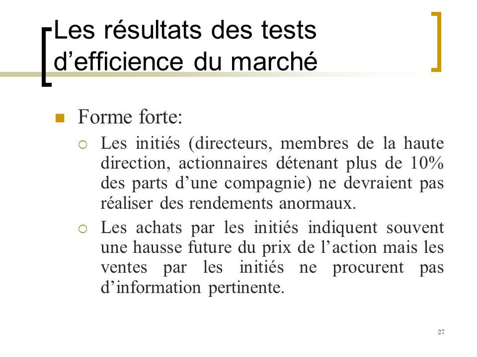 Les résultats des tests defficience du marché Forme forte: Les initiés (directeurs, membres de la haute direction, actionnaires détenant plus de 10% d