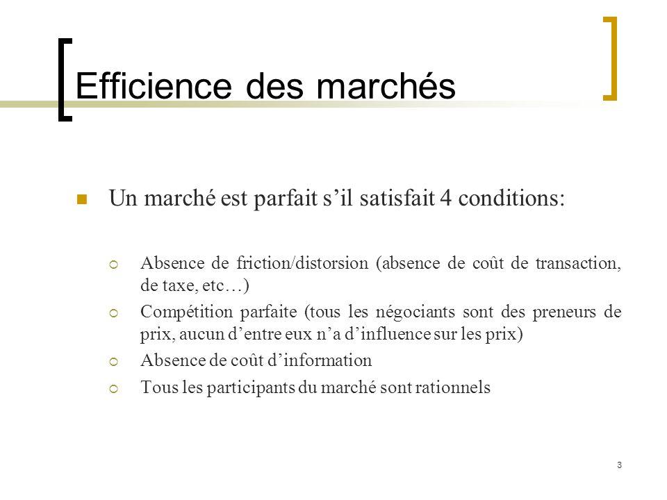 Efficience des marchés Un marché est parfait sil satisfait 4 conditions: Absence de friction/distorsion (absence de coût de transaction, de taxe, etc…