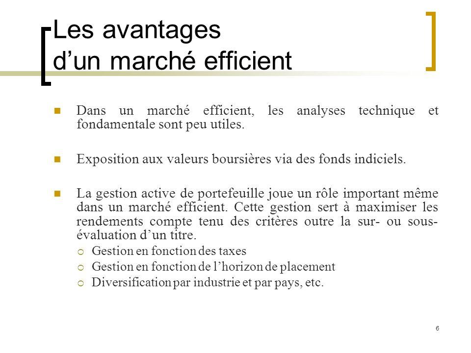 Les avantages dun marché efficient Dans un marché efficient, les analyses technique et fondamentale sont peu utiles. Exposition aux valeurs boursières