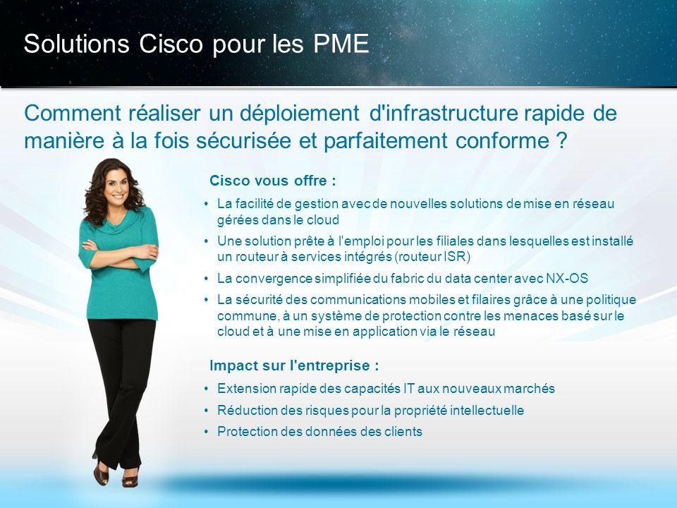 © 2013 Cisco et/ou ses filiales. Tous droits réservés. Informations confidentielles de Cisco 14 Solutions Cisco pour les PME Comment réaliser un déplo