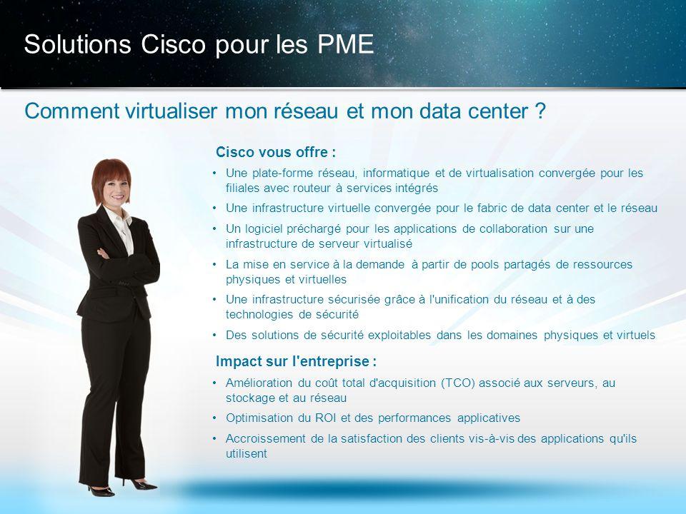 © 2013 Cisco et/ou ses filiales. Tous droits réservés. Informations confidentielles de Cisco 17 Solutions Cisco pour les PME Comment virtualiser mon r