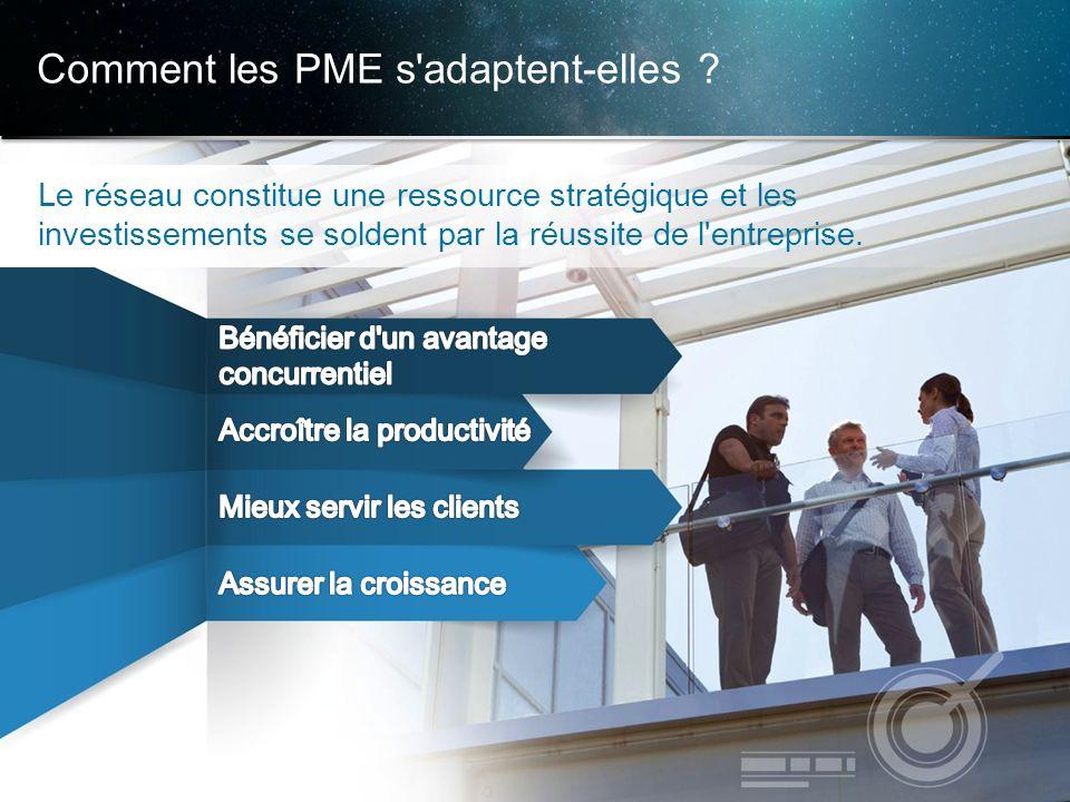 © 2013 Cisco et/ou ses filiales. Tous droits réservés. Informations confidentielles de Cisco 8 Comment les PME s'adaptent-elles ?,,,, Le réseau consti