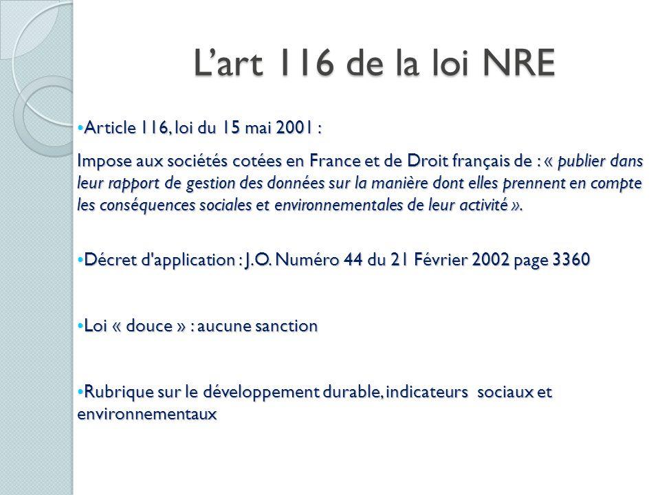 Article 116, loi du 15 mai 2001 :Article 116, loi du 15 mai 2001 : Impose aux sociétés cotées en France et de Droit français de : « publier dans leur