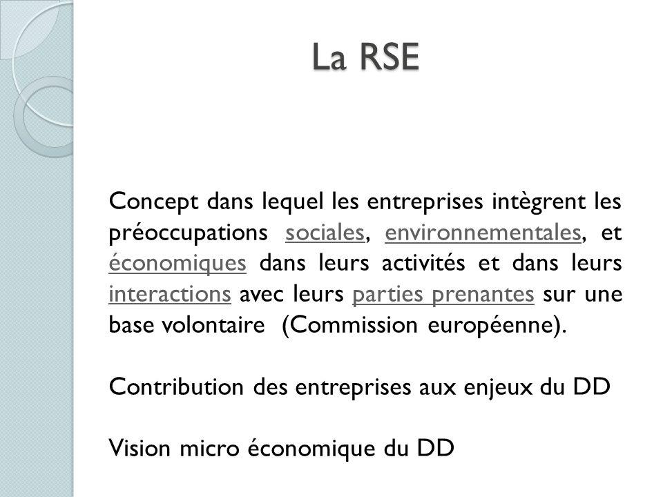 La RSE Concept dans lequel les entreprises intègrent les préoccupations sociales, environnementales, et économiques dans leurs activités et dans leurs