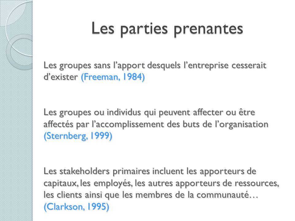 Les parties prenantes Les groupes sans lapport desquels lentreprise cesserait dexister (Freeman, 1984) Les groupes ou individus qui peuvent affecter o