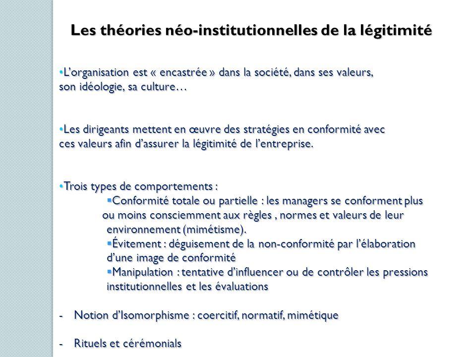 Les théories néo-institutionnelles de la légitimité Lorganisation est « encastrée » dans la société, dans ses valeurs,Lorganisation est « encastrée »