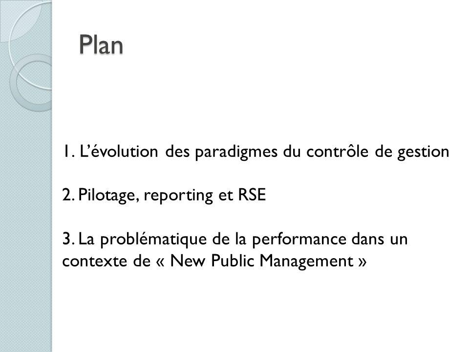Plan 1.Lévolution des paradigmes du contrôle de gestion 2. Pilotage, reporting et RSE 3. La problématique de la performance dans un contexte de « New