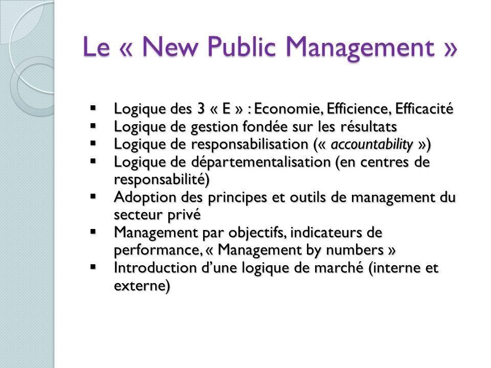 Logique des 3 « E » : Economie, Efficience, Efficacité Logique des 3 « E » : Economie, Efficience, Efficacité Logique de gestion fondée sur les résult