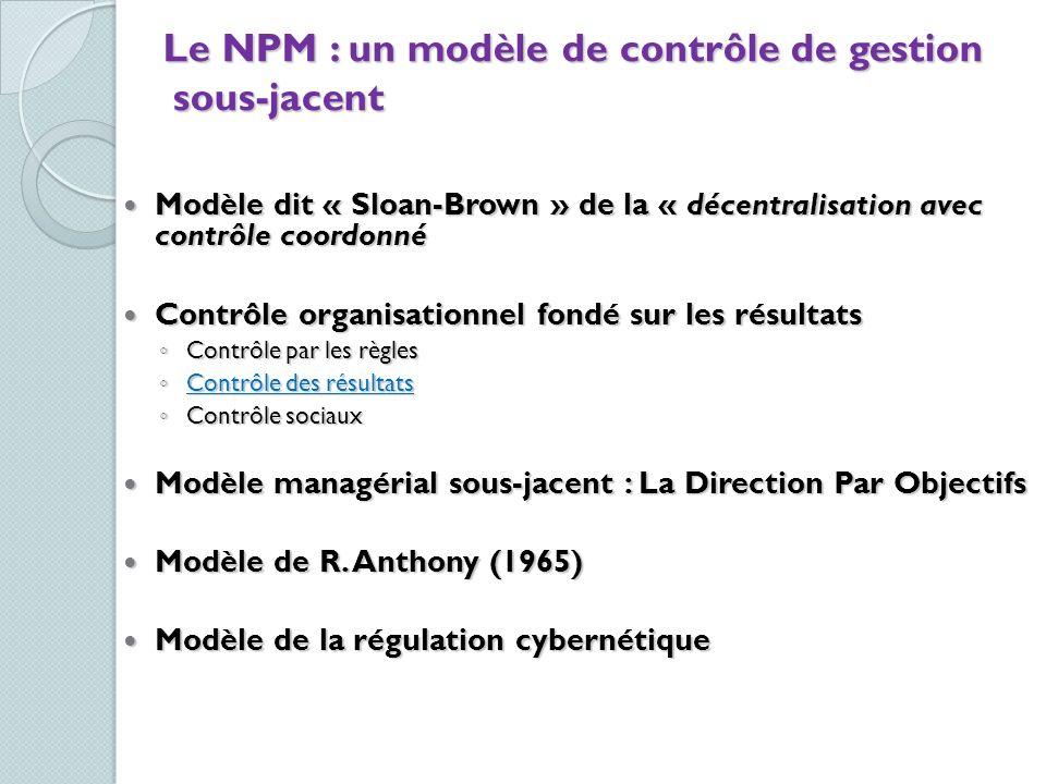 Le NPM : un modèle de contrôle de gestion sous-jacent Modèle dit « Sloan-Brown » de la « décentralisation avec contrôle coordonné Modèle dit « Sloan-B