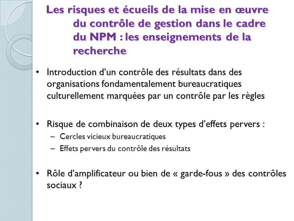 Les risques et écueils de la mise en œuvre du contrôle de gestion dans le cadre du NPM : les enseignements de la recherche Introduction dun contrôle d