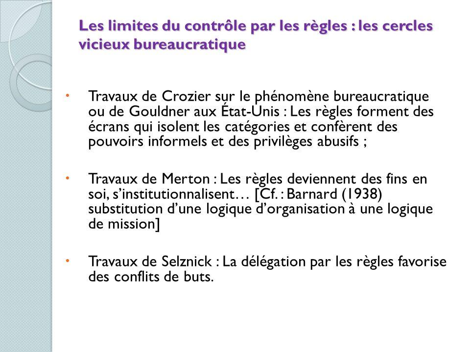 Les limites du contrôle par les règles : les cercles vicieux bureaucratique Travaux de Crozier sur le phénomène bureaucratique ou de Gouldner aux État
