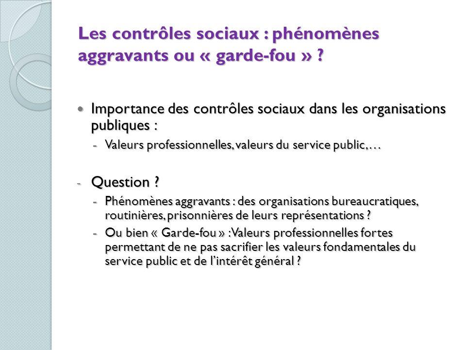 Les contrôles sociaux : phénomènes aggravants ou « garde-fou » ? Importance des contrôles sociaux dans les organisations publiques : Importance des co