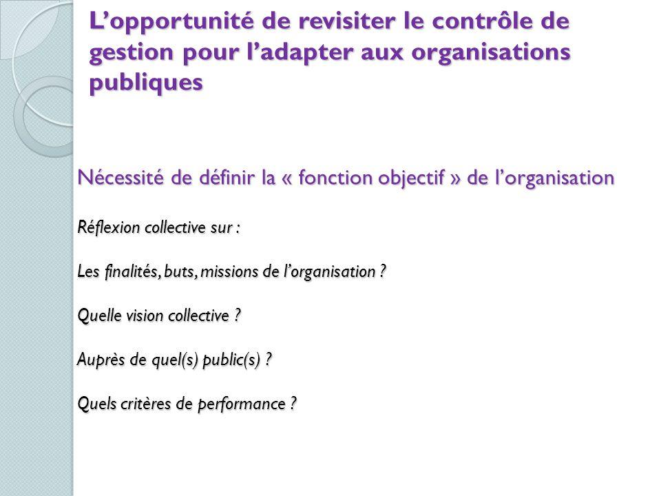 Lopportunité de revisiter le contrôle de gestion pour ladapter aux organisations publiques Nécessité de définir la « fonction objectif » de lorganisat