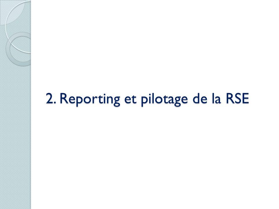2. Reporting et pilotage de la RSE